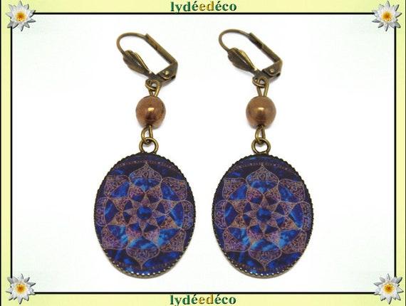 Retro earrings Japanese tree Brown Arabesques Midnight Blue resin bronze beads 18 x 25mm