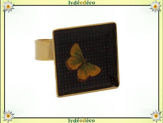 Bague carrée PAPILLON en laiton doré à l'or fin 24 carats 24 K resine jaune orangé moutarde noir 17mm réglable