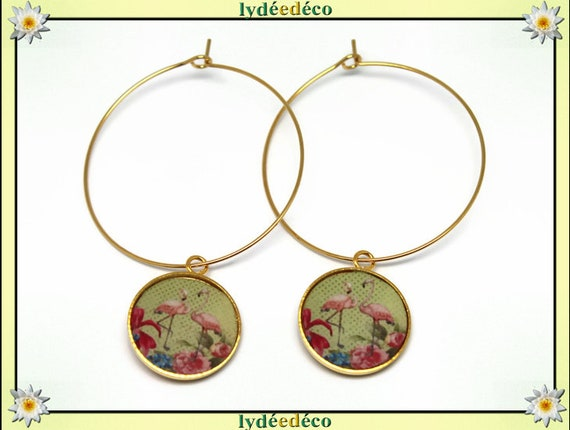 Hoop earrings, Flamingo brass gold 24 k Flower Pink Green lime resin gift birthday mother's day wedding thank you teacher