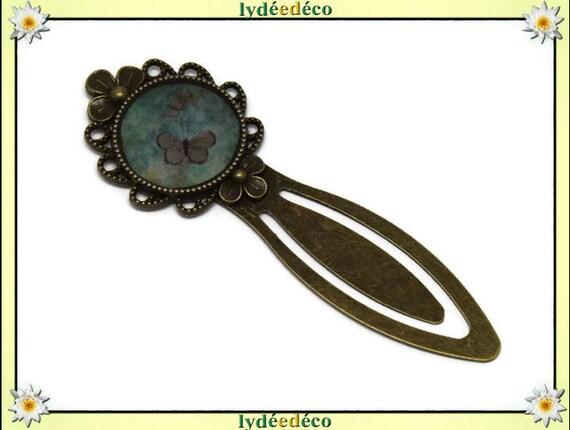Marque-pages résine Papillon vert brun laiton bronze 20mm fete des meres anniversaire cadeau personnalisé merci maitresse