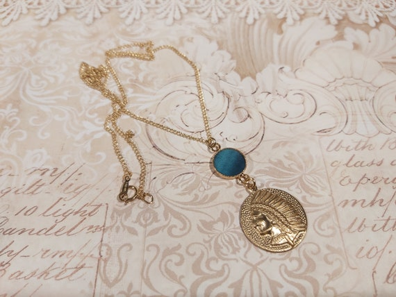 SIOUX gold necklace filled 14K turquoise duck blue or wedding resin party from mothers christmas birthday gift