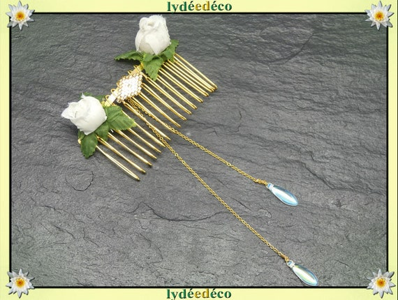 Hair comb wedding weaving bead flower bud white beige Golden Gift guest bridesmaid witness couple bride accessory