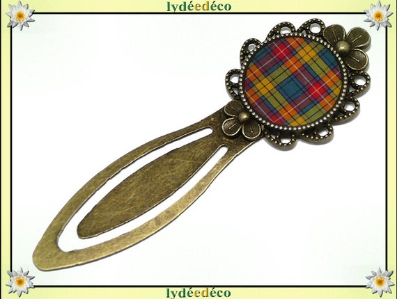 Bookmarks fabric orange green Tartan check tartan Outlander resin 20mm mother's day gift personalized birthday thank you