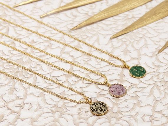 COLLAR JAPON neck round ginkgo fan art deco flower sakura cherry gold 24k gold filled 14k black green purple ceremony