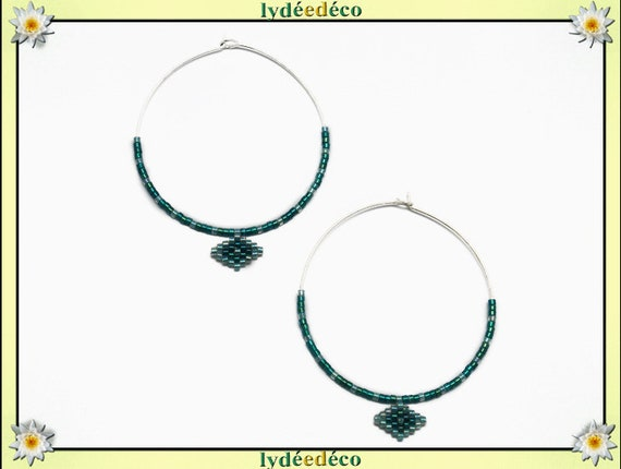 Round 925 sterling silver hoop earrings woven beads Japanese green emerald green water 40mm gift birthday mother's day