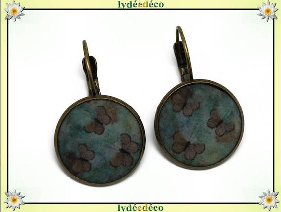 Boucles dormeuses rétro vintage Papillons vert brun résine laiton bronze médaillon rond 20mm