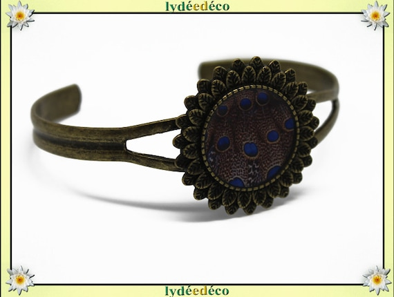 Resin bracelet feather peacock blue Brown bronze brass adjustable 20 mm
