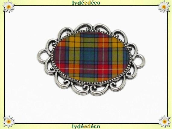 1 magnet magnet Scottish tiles green green yellow orange red tartan Outlande resine fete of mothers Christmas birthday gift