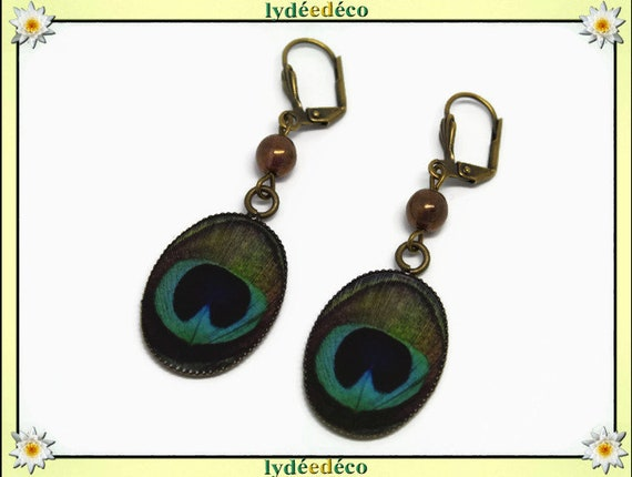 Earrings vintage retro feather peacock blue green resin brass beads glass pendants 18x25mm