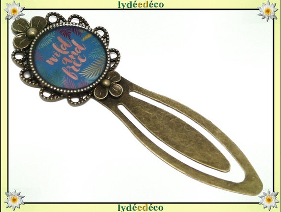 Bookmarks Message Wild and Free blue pink green resin brass bronze 20mm mother's day personalized anniversary gift