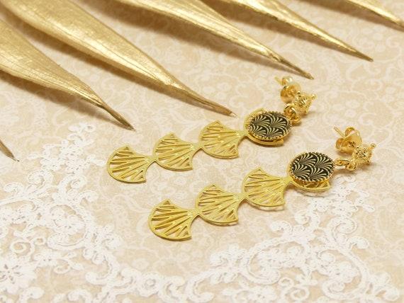 GINKGO biloba tree rings Japan black gold brass or fine 24k resin birthday gift christmas Christmas wedding