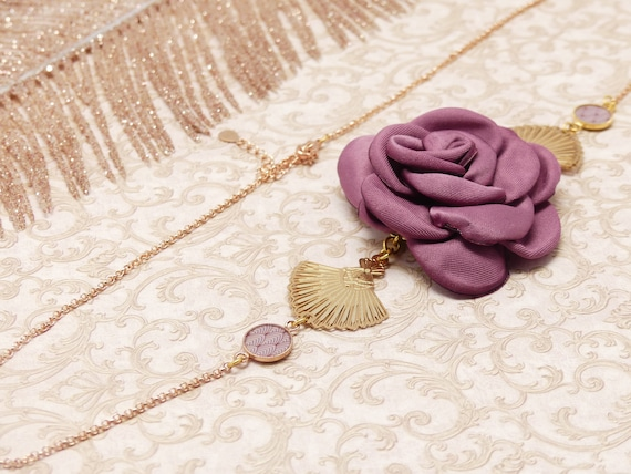 Headband GATSBY golden brass fine gold 24k old purple pink Japan art deco fan resin resin ceremony