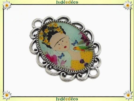 1 magnet magnet flower Frida Kahlo butterfly blue yellow pink resine fete of mothers personalized birthday gift thank you mistress noel
