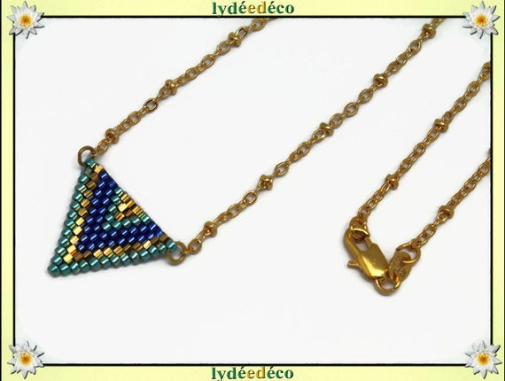 Necklace plated 18 k gold blue green and gold woven triangle chevron chain ball