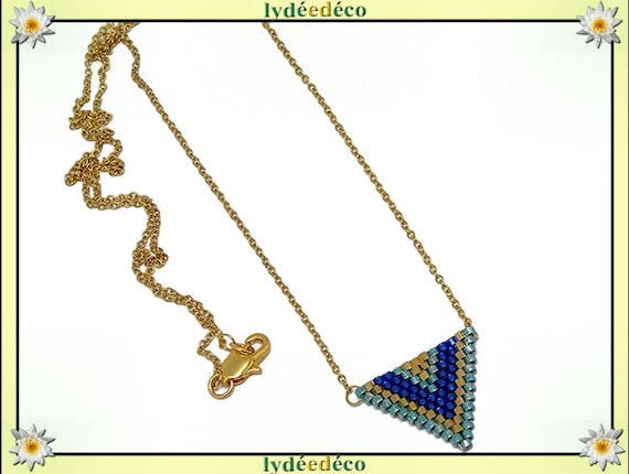 Midnight Blue necklace green pastel gold weave triangle chevron chain steel stainless mother's day birthday Christmas gift
