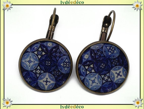 Earrings sleepers Azulejos Lisboa blue night sky blue white resin bronze 2cm mothers personalized anniversary gift