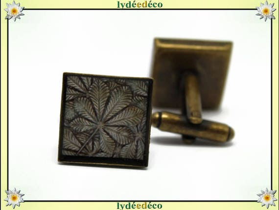 2 retro suit cuff links bronze resin beige Brown gray tree brass 16mm master thank you for father's day birthday gift