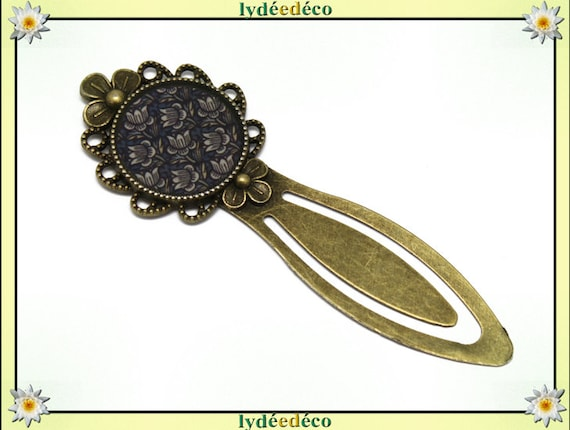 Bookmarks resin brown white blue lotus flower brass bronze 20mm mother's day personalised birthday thank you teacher
