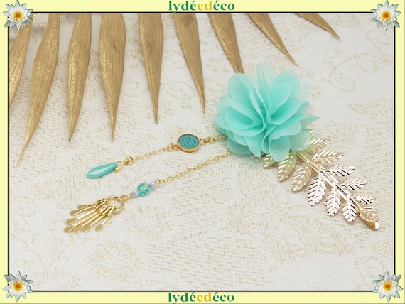 SeIGAIHA hair accessory leaves Japan brass or turquoise coral pearl resin wedding ceremony gift ceremony