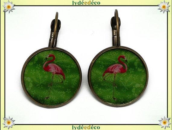 Boucles dormeuses rondes rétro vintage exotique Flamants rose flamingo vert résine laiton bronze 2cm fete des meres cadeau anniversaire