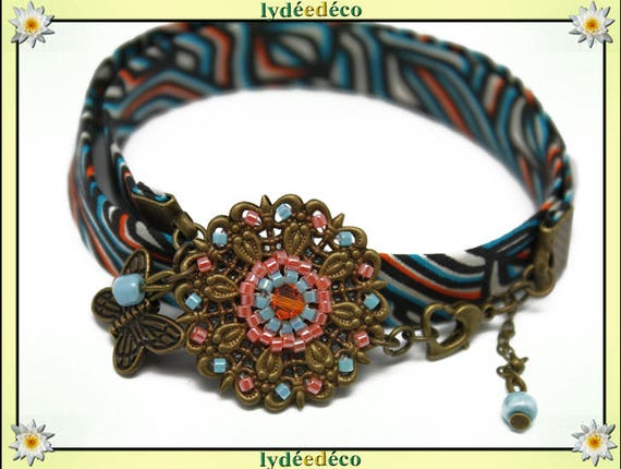 Bracelet ethnic print liberty Fleur coral orange African turquoise beads black Japanese Glass Butterfly brass bronze