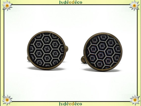 2 button cuffs retro resin kikko turtle scales black beige Japan brass 14mm master thank you for father's day birthday gift