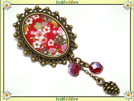 Retro pin resin brass pendant white red green pink cherry blossom SAKURA oval 18 x 25mm charm beads pinecone