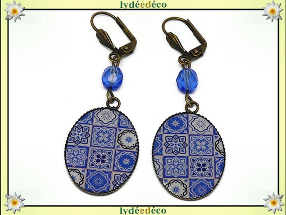 Earrings retro Azulejos Lisbon blue sky white resin bronze beads glass anniversary gift personalized mother's day