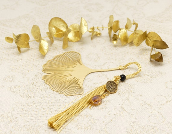 Brand pages GINKGO books resin pearl pompom Japan art deco tree golden fan party of the mothers christmas christmas birthday