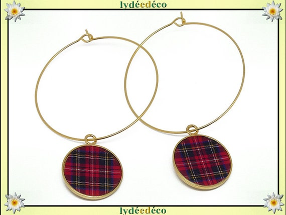 Creole earrings red brass Outlander Tartan gold 24 k black and red flower resin gift birthday mother's day wedding thank you teacher
