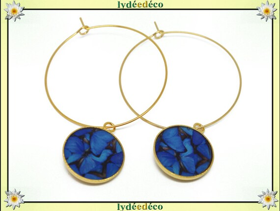 Creole earrings butterflies Golden brass gold 24 carat 24 k flower dark blue gray black resin