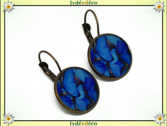 Earrings retro Butterfly blue white resin and brass 2cm mother's day birthday Christmas gift