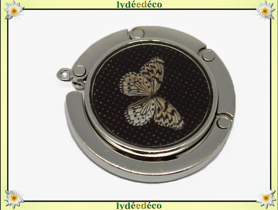 Bag retro beige and black Butterfly resin on metal silver hook