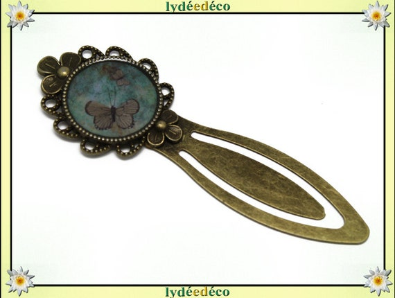 Bookmarks resin Butterfly Green Brown BRONZE 20mm mother's day birthday personalised thank you teacher