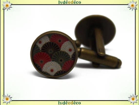2 button cuff costume red white khaki green resin brass 14mm thank you for father's day master birthday gift