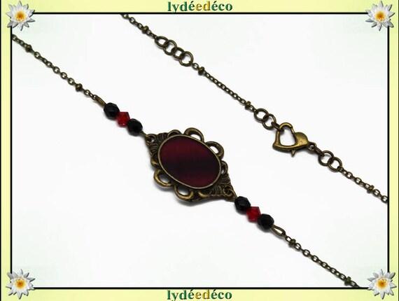 Headband perles facettes toupie verre retro rouge noir laiton bronze cheveux mariage fête