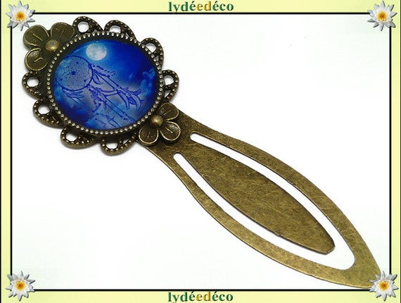 Bookmark retro Blue Moon Dreamcatcher white resin bronze 20mm mother's day gift personalized birthday thank you teacher