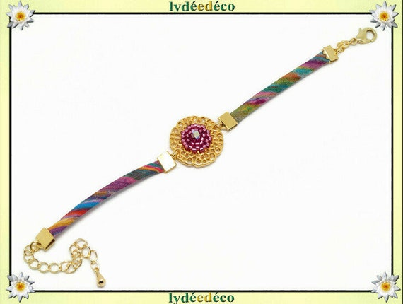 Strap adjustable flower fabric liberty blue blue purple pink pearls Japanese brass gold 24 carat sat gift Christmas birthday party of mothers