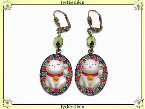 Chinese cat earrings happily wear blue green red white resin brass bronze pearls party of mothers Christmas birthday gift