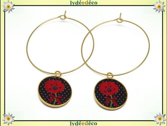 Hoop earrings poppy striped brass gold 24 k black and red flower resin gift birthday mother's day wedding thank you teacher
