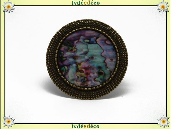 Round ring retro vintage Pink Pearl blue green resin and brass bronze adjustable 20mm diameter