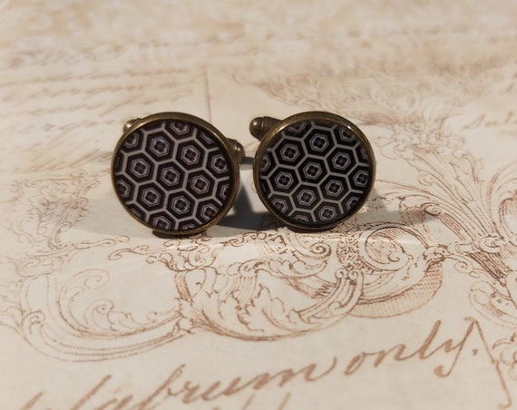 KIKKO retro resin cuffs black turtle scales brown or grey Japan brass party of fathers wedding birthday gift