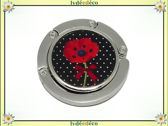 Bag hook retro Fleur poppy dots black white green red resin on metal silver anniversary mothers Christmas gift