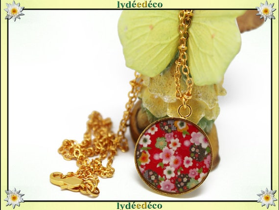 Matinee necklace SAKURA cherry blossom Japan Golden brass gold 24 carat 24 k pink red green white resin mothers birthday gift