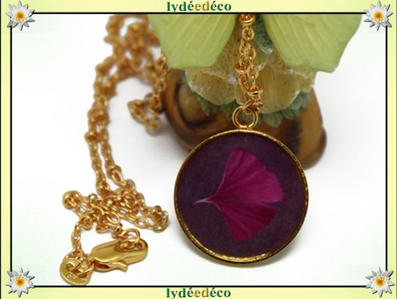 Necklace Golden brass gold 24 carat 24 k Pink Purple GINKO resin