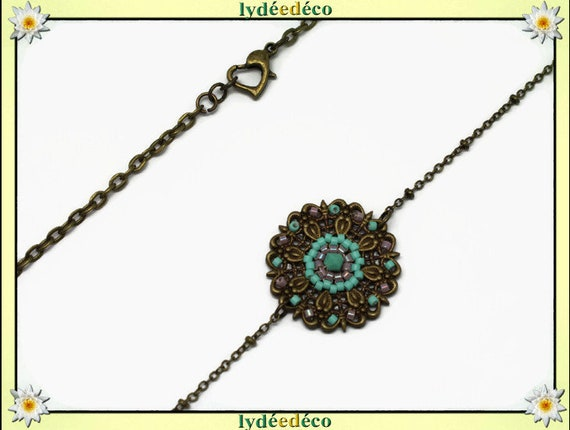 Vintage flower headband print and green lilac tones glass beads bronze