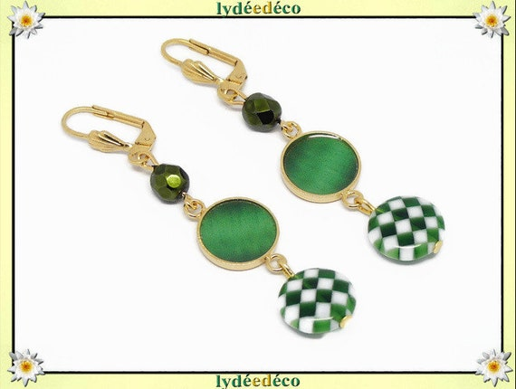 Gold plated brass earrings 24k gingham 4-leaf green white resin birthday gift anniversary party mothers wedding Christmas