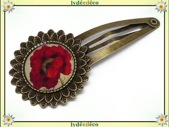 Hair clip wedding retro resin hair clip flower poppy red beige black brass bronze mothers birthday gift
