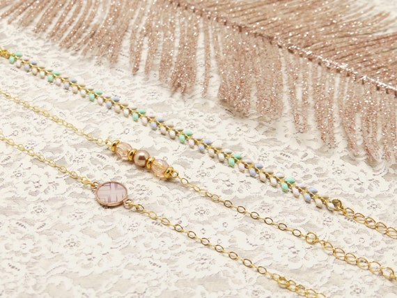 ART DECO wedding wedding pearls swarovski pink powdered resin guest bridesmaid ceremony gold