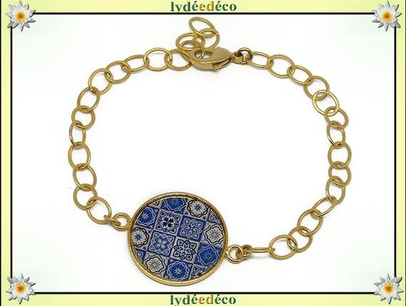 Azulejos Lisboa Golden brass gold 24 carat 24 k flower bracelet white blue resin adjustable mother's day personalized anniversary gift